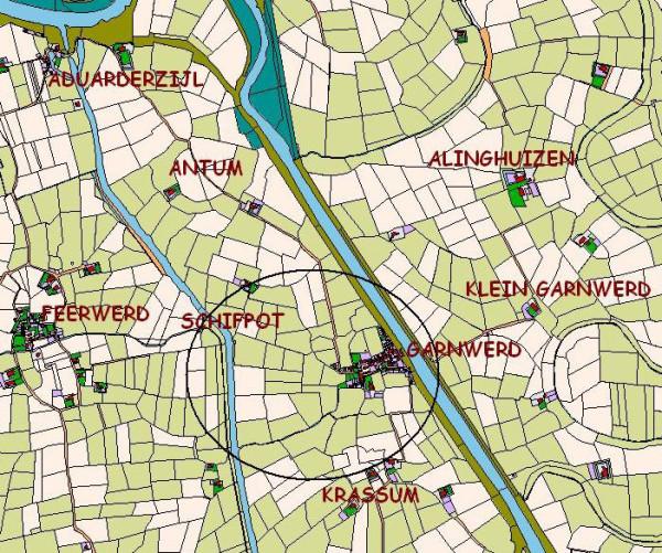 Door de aanleg van het Aduarderdiep werd de oude verbindingsweg bij Schifpot verbroken.