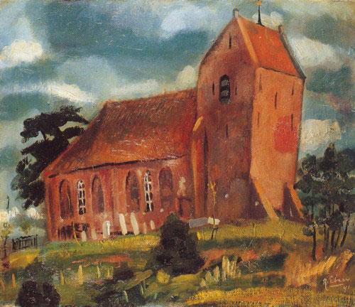 Kerkje van Oostum geschilderd door Ruurd Elzer.